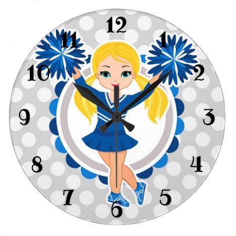Blue Cheerleader Blonde - Cute Cheer Large Clock