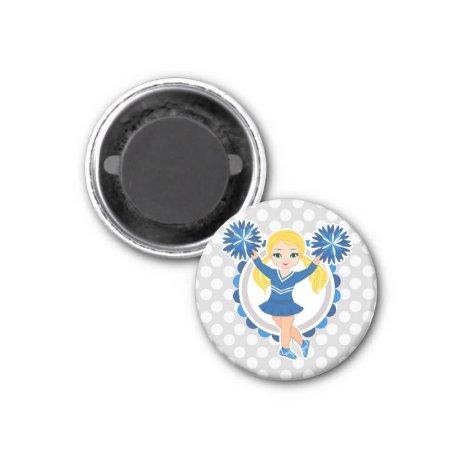 Blue Cheerleader Blonde - Cute Cheer Magnet