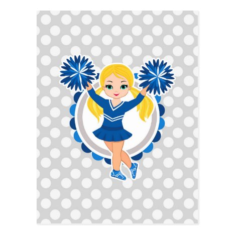 Blue Cheerleader Blonde - Cute Cheer Postcard