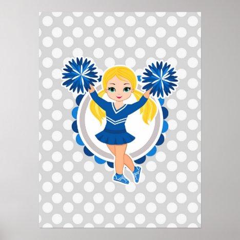 Blue Cheerleader Blonde - Cute Cheer Poster