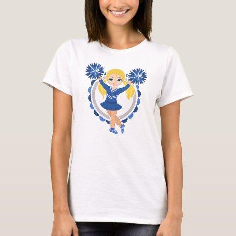 Blue Cheerleader Blonde - Cute Cheer T-Shirt