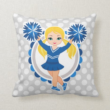 Blue Cheerleader Blonde - Cute Cheer Throw Pillow