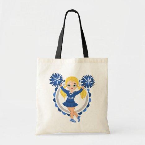 Blue Cheerleader Blonde - Cute Cheer Tote Bag