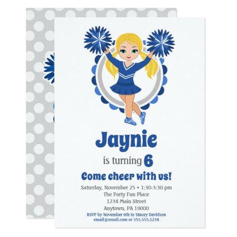 Blue Cheerleader - Blonde Girls Cheer Birthday Invitation