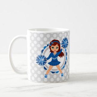 Blue Cheerleader Brunette - Cute Cheer Coffee Mug