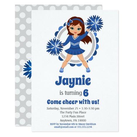 Blue Cheerleader - Brunette Girls Cheer Birthday Invitation