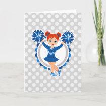 Blue Cheerleader Redhead - Cute Cheer Card