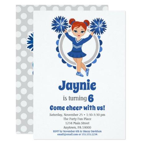 Blue Cheerleader - Redhead Girls Cheer Birthday Invitation