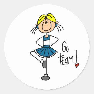 Blue Cheerleader Round Stickers