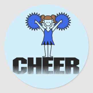 Blue Cheerleading T-shirts and Gifts Round Stickers