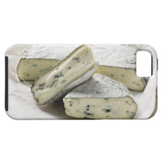 Blue cheese with pieces cut on paper iPhone 5 case