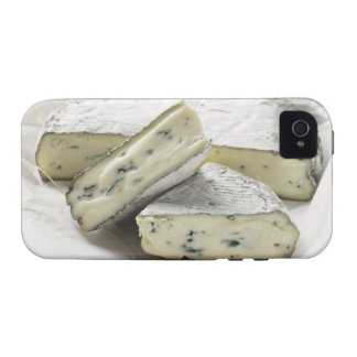 Blue cheese with pieces cut on paper iPhone 4 cover