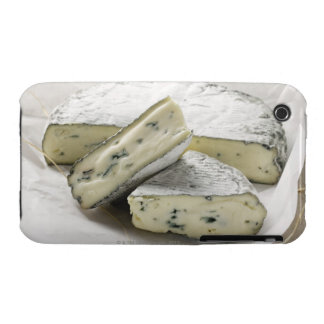Blue cheese with pieces cut on paper iPhone 3 case