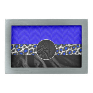 Blue Cheetah Fabric Monogram Rectangular Belt Buckles