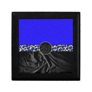 Blue Cheetah Fabric Monogram Trinket Boxes
