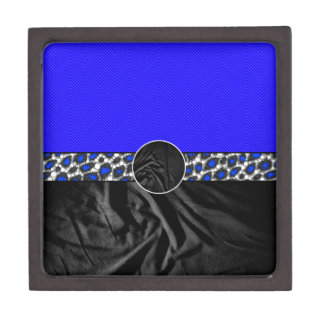 Blue Cheetah Fabric Monogram Premium Trinket Boxes
