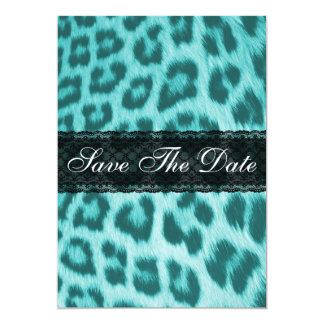 Blue Cheetah Lace Print Save The Date Notice Card