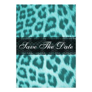 Blue Cheetah Lace Print Save The Date Notice Custom Invites