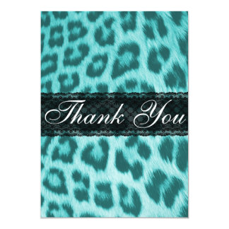 Blue Cheetah Lace Print Thank You Card / Note