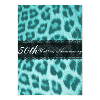 Blue Cheetah Lace Print Wedding Anniversary Party Card