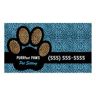 Blue Cheetah Print Custom Paw Pet Sitter Business Card Template