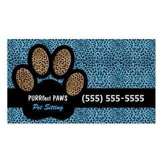Blue Cheetah Print Custom Paw Pet Sitter Standard Business Card