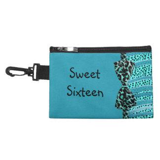 Blue Cheetah Sweet Sixteen Zebra Stripes Accessory Bag