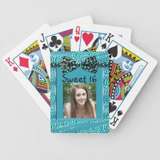 Blue Cheetah Sweet Sixteen Zebra Stripes Bicycle Playing Cards