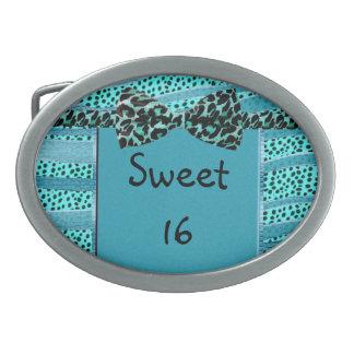Blue Cheetah Sweet Sixteen Zebra Stripes Oval Belt Buckle