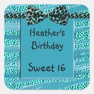 Blue Cheetah Sweet Sixteen Zebra Stripes Square Sticker