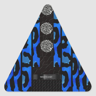Blue Cheetah Unique Pattern Triangle Sticker