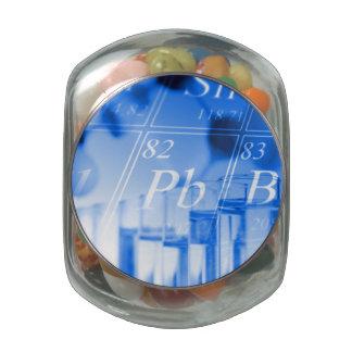 Blue chemistry jelly belly candy jar