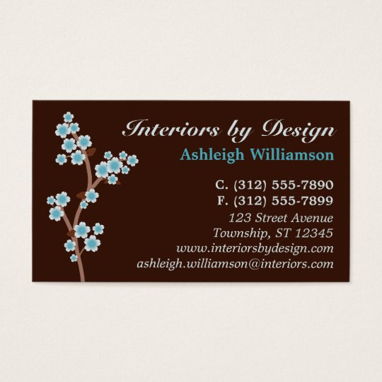 Blue Cherry Blossom Brown Business Cards