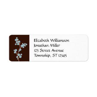 Blue Cherry Blossom Brown Return Address Labels