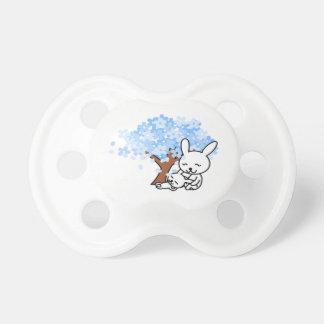 Blue Cherry Blossom Bunny Pacifier