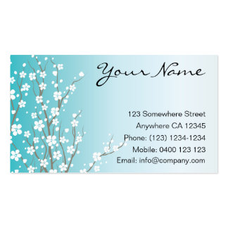 Blue Cherry Blossom Business Card