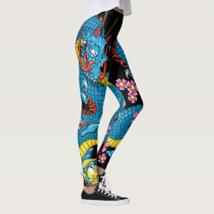 a654c1ddb3f Blue Cherry Blossom Dragon Tattoo in Black Leggings