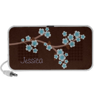 Blue Cherry Blossoms Brown Doodle Speaker
