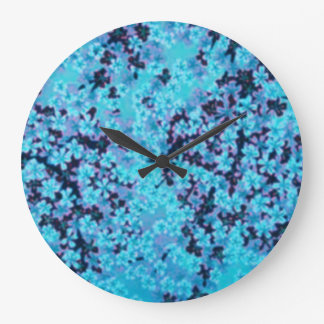 Blue Cherry Blossoms Clock