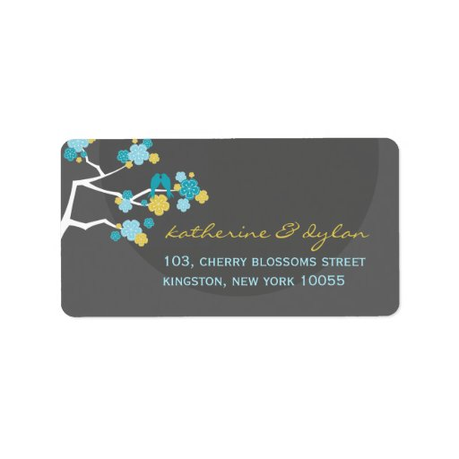 Blue Cherry Blossoms Love Birds Wedding Labels