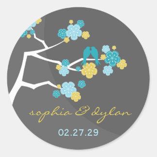 Blue Cherry Blossoms Love Birds Wedding Stickers
