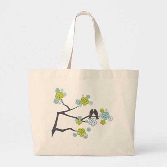 Blue Cherry Blossoms Love Birds Wedding Tote Bag