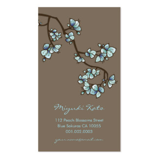 Blue Cherry Blossoms Sakura Spring Flowers Floral Double-Sided Standard Business Cards (Pack Of 100)