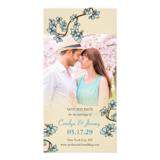 Blue Cherry Blossoms Sakura Wedding Save The Date Card