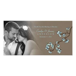 Blue Cherry Blossoms Sakura Wedding Thank You Card