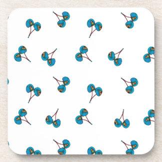 Blue Cherry Pattern Drink Coaster