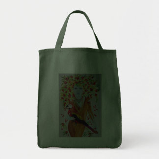 Blue Cherry Tree Woman Grocery Tote Bag