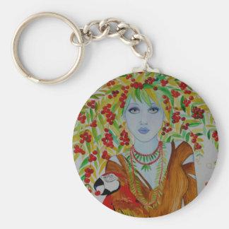 Blue Cherry Tree Woman Key Chains