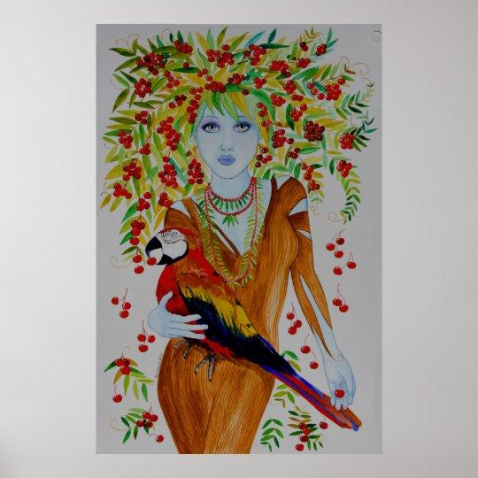Blue Cherry Tree Woman Poster