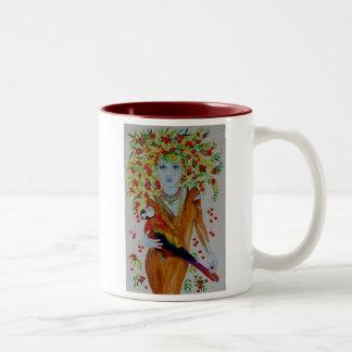 Blue Cherry Tree Woman Two-Tone Coffee Mug